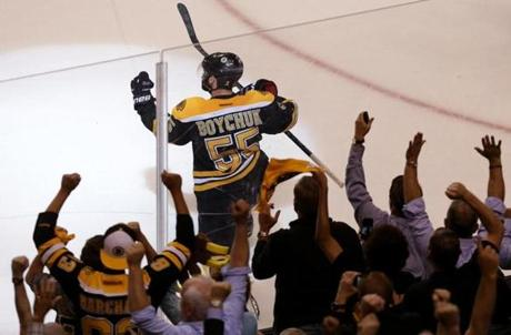 Johnny Boychuk scored the game-tying goal that forced overtime for the Bruins at 12:14 of the third period.